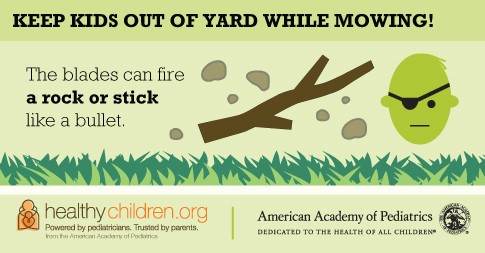 Keep kids out of the yard when mowing - image