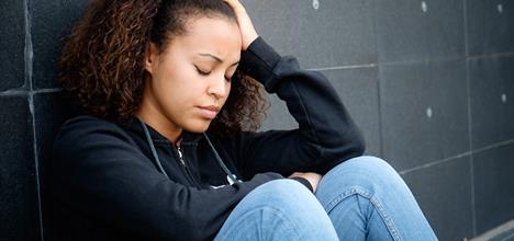 Sad or depressed teenager