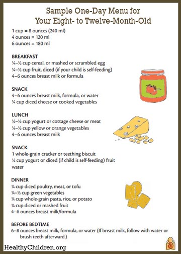 Sample Menu for an 8 to 12 Month Old HealthyChildrenorg